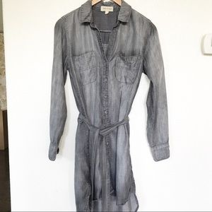 Anthro Cloth & Stone Grey Chambray button dress S